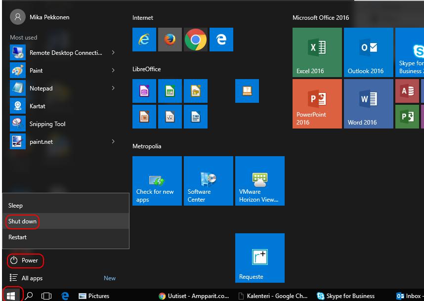 Windows 10 Sammutus Pikanäppäin